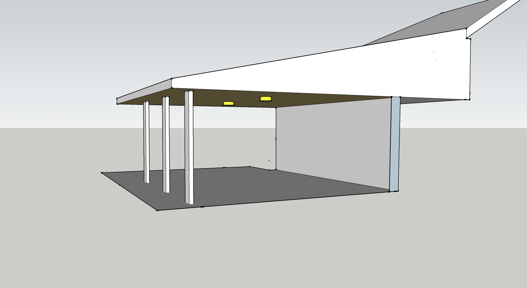 Flat roof porch ceiling simple post setup st louis for Minimalist house flat roof