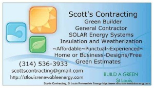 Scotts Contracting, St Louis Renewable Energy Online Business Card