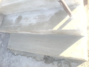 Close Up of Repaired Concrete Step