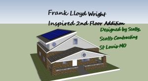 Frank Lloyd Wright Inspired 2nd Floor Room Addition-Green Features: Photovoltaic Solar Sytem- Passive Solar Design for Natural Daylighting