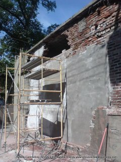 Setting up the Scaffolding for Brick Repair