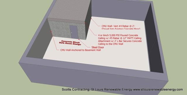 CAD Safe Room Design for an existing Basement-8in CMU, Steel Door, 6in Reinforced Concrete Ceiling
