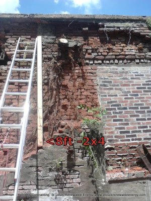 Outer Course of Brick Wall removed exposing the Trees Root System