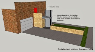 CAD Design Electric Wheelchair Lift in Up Position at House Level