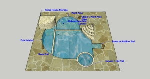 Birdseye view Natural Swimming Pool Design