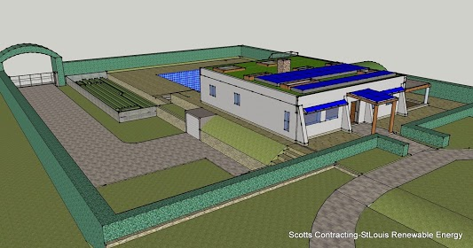 Hemp Home Frontal View- Design by Scotty Net Zero Energy Efficient Hempcrete Home